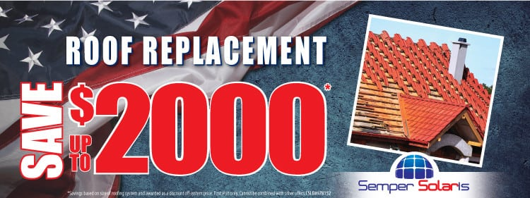 Semper Special Offer – Save up to $2000 on Roof Replacement