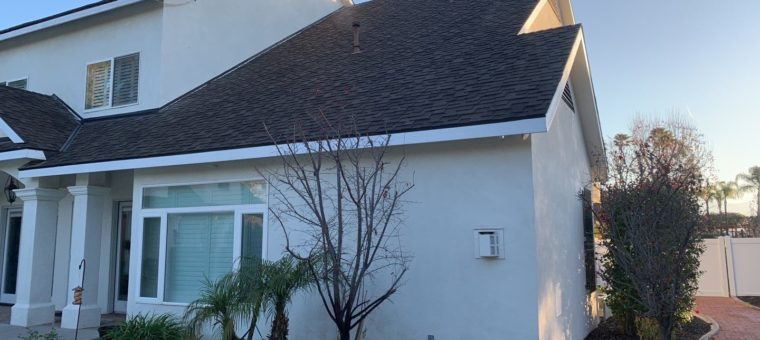 A finished view of a roofing installation on a home in Carlsbad.
